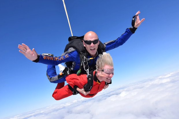 06fd28dc Sheila Cassidy does her skydive with tandem master Dave from the Irish  Parachute Club at Clonbollogue