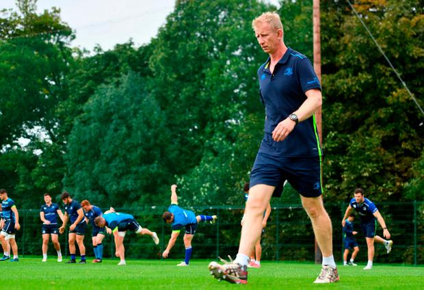 Leinster head coach Leo Cullen during squad training at UCD in Dublin. Photo: Ramsey Cardy/Sportsfile