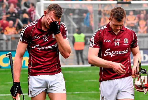 Jonathan Glynn (left) and Joe Canning show their disappointment after the 2015 All-Ireland final defeat against Kilkenny. Photo: David Maher/SPORTSFILE