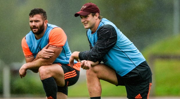 Jaco Taute (left) and Tyler Bleyendaal will be hoping to help Munster get off to a winning start in the PRO14. Photo: Sportsfile