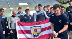 Padraic Cunningham leads the way as Galway United's players show their colours ahead of Sunday's All-Ireland hurling final