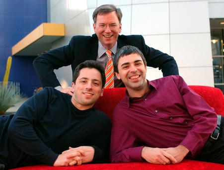 Google CEO Eric Schmidt (top) and co-founders Sergey Brin (left) and Larry Page in 2004