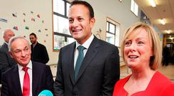 Minister for Employment and Social Protection Regina Doherty pictured alongside Taoiseach Leo Varadkar and Minister for Education and Skills Richard Bruton after they visited Stanhope Street Primary School. Photo: Steve Humphreys