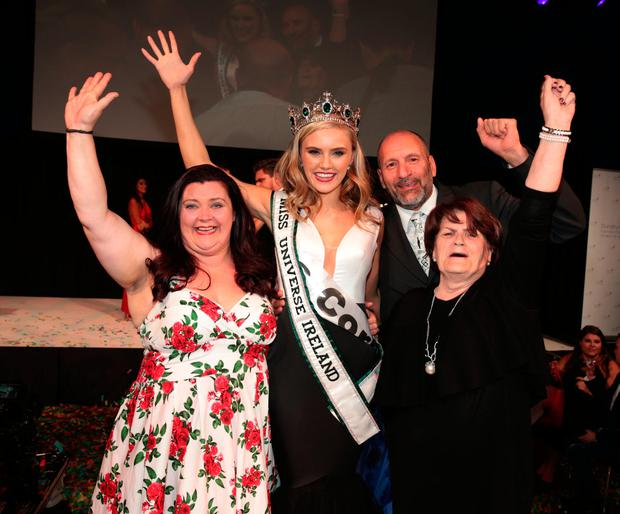 Miss Cork Cailin Aine Ni Toibin who was crowned Miss Universe Ireland 2017 celebrating with her parents Sonya and Julian and grandmother Anne. Picture: Brian McEvoy