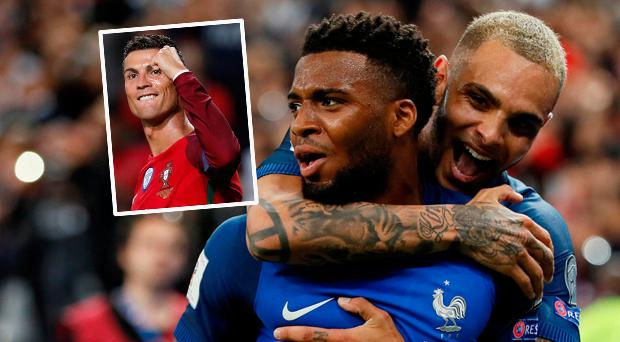 Thomas Lemar celebrates scoring France's second goal with Layvin Kurzawa and (inset) Ronaldo scored another hat-trick