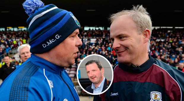 Waterford manager Derek McGrath, left, and Galway manager Michéal Donoghue and (inset) Brendan Cummins