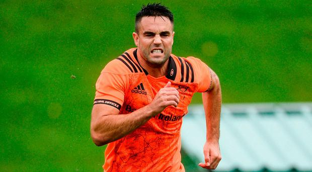 Conor Murray of Munster trains separate from team-mates during Munster Rugby Squad Training at the University of Limerick in Limerick. Photo by Diarmuid Greene/Sportsfile