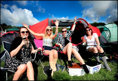Emily Brennan (30) from Kilkenny, Fiona Whelan (30) from Kildare, Emily Connor (30) from Mayo and Therese McManus (30) from Melbourne Australia at Electric Picnic at Stradbally Co Laois.