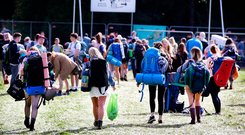 Revellers making their way to Electric Picnic at Stradbally Co Laois.