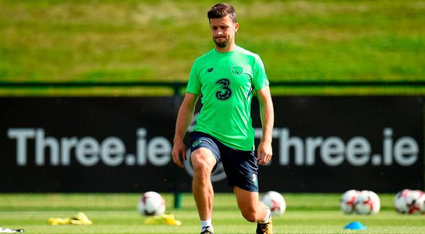 Shane Long of Republic of Ireland during squad training at the FAI NTC in Abbotstown, Dublin. Photo by Seb Daly/Sportsfile