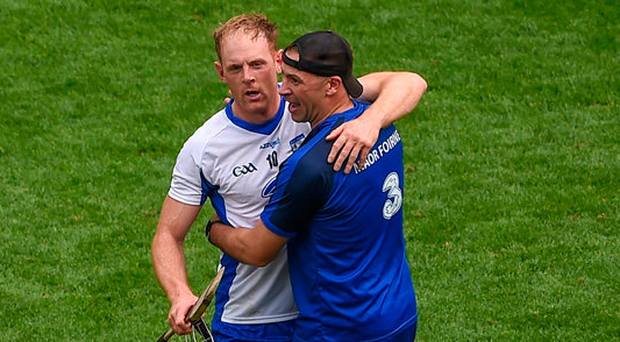 Kevin Moran celebrates with Waterford selector Dan Shanahan. Photo by Daire Brennan/Sportsfile