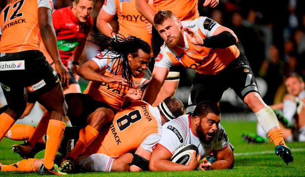 Rodney Ah You of Ulster is tackled by Niell Jordaan of Cheetahs during the Guinness PRO14 Round 1 match between Ulster and Cheetahs at Kingspan Stadium in Belfast. Photo by Oliver McVeigh/Sportsfile