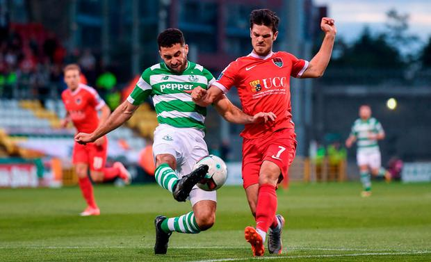 Roberto Lopes of Shamrock Rovers in action against Jimmy Keohane of Cork City during the SSE Airtricity League Premier Division match between Shamrock Rovers and Cork City at Tallaght Stadium in Tallaght, Dublin. Photo by Stephen McCarthy/Sportsfile