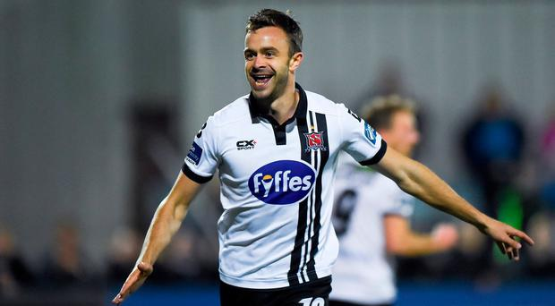 Robbie Benson of Dundalk celebrates after scoring his side's fourth goal of the game during the SSE Airtricity League Premier Division match between Dundalk and St Patrick's Athletic at Oriel Park in Dundalk. Photo by Seb Daly/Sportsfile