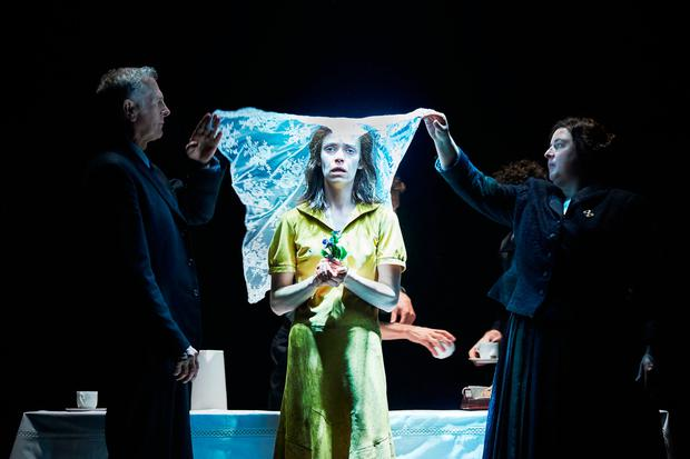 Sean Campion, Caoilfhionn Dunne and Siobhan McSweeney in 'Katie Roche' at the Abbey. Photo: Ros Kavanagh