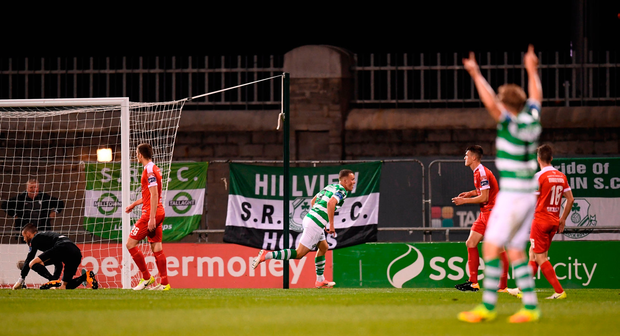 Michael OConnor of Shamrock Rovers celebrates after scoring his side's third goal Photo: Sportsfile