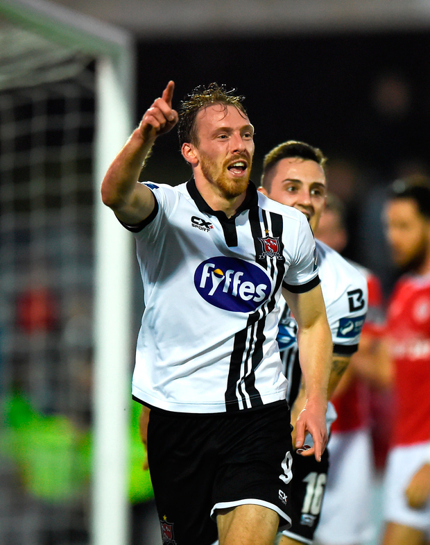 David McMillan of Dundalk celebrates after scoring his side's second goal Photo: Sportsfile