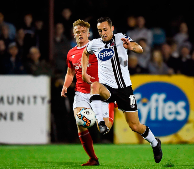 Dylan Connolly of Dundalk controls the ball on his way to scoring his side's fifth goal Photo: Sportsfile
