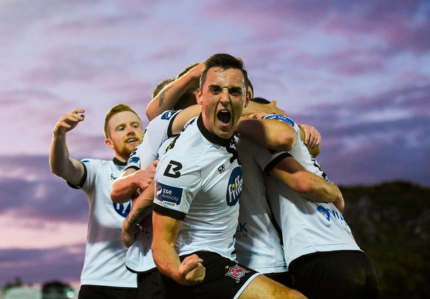 Dylan Connolly of Dundalk celebrates his side's second goal, scored by team-mate David McMillan Photo: Sportsfile