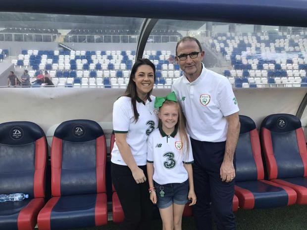 Martin O'Neill with John's daughter Danielle and granddaughter Lesie