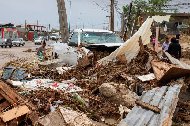 A truck sits among debris in the aftermath of Tropical Storm Lidia in Los Cabos, Mexico, September 1, 2017. REUTERS/Fernando Castillo