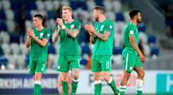 Republic of Ireland's Ciaran Clark, James McClean, Daryl Murphy and Cyrus Christie after the 2018 FIFA World Cup Qualifying, Group D match at the Boris Paichadze Stadium, Tbilisi