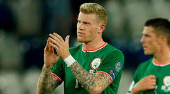 Republic Of Ireland's James McClean applauds fans after the match. REUTERS/David Mdzinarishvili