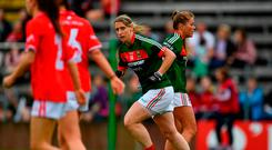 Cora Staunton of Mayo celebrates after scoring her sides first goal during the TG4 Ladies Football All-Ireland Senior Championship Semi-Final match between Cork and Mayo at Kingspan Breffni in Cavan. Photo by Sam Barnes/Sportsfile
