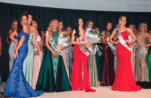 GLAMOUR GIRLS: Miss Universe Ireland 2017 contestants pose for the camera, and hit the catwalk