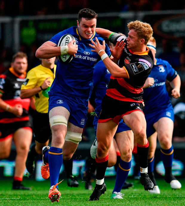 James Ryan of Leinster is tackled by Angus O'Brien of Dragons Photo: Sportsfile