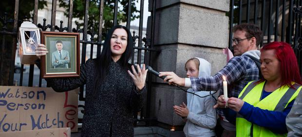 A crowd pays tribute to Jack outside Leinster House on Friday