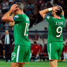 Shane Long, right of Republic of Ireland reacts after his header goes wide Photo: Sportsfile