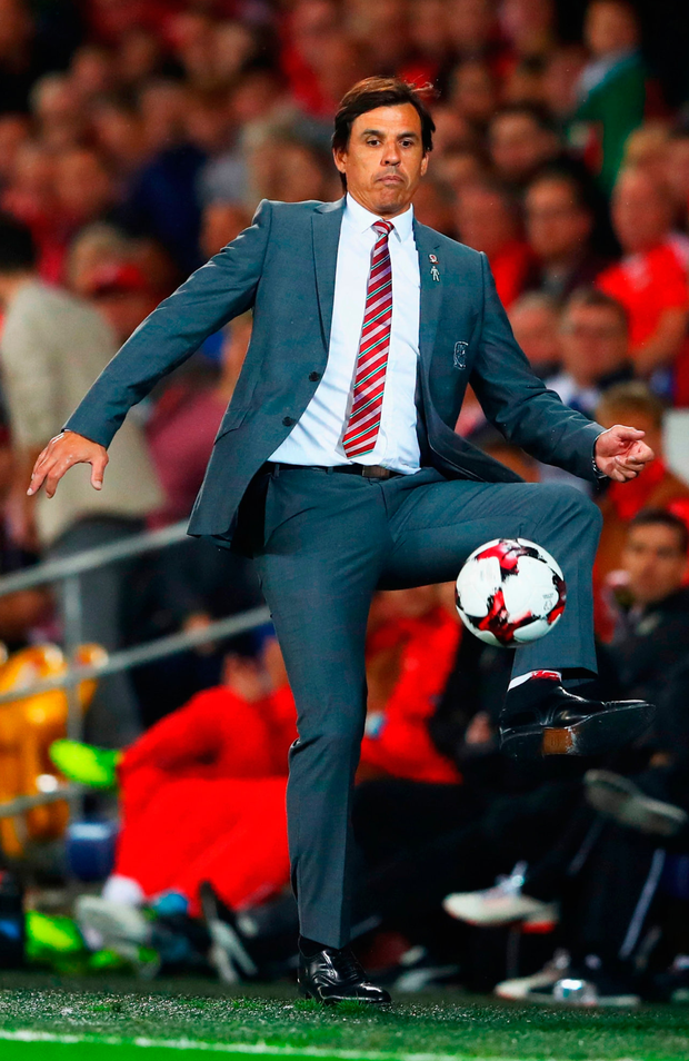 Wales manager Chris Coleman controls the ball on the touchline Photo: Getty