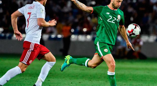 Harry Arter of Republic of Ireland in action against Jano Ananidze