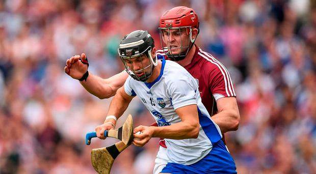 Darragh Fives of Waterford in action against Jonathan Glynn of Galway during the GAA Hurling All-Ireland Senior Championship Final match between Galway and Waterford at Croke Park in Dublin. Photo by Seb Daly/Sportsfile