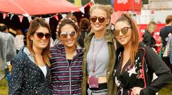Jacqui Crowley, Christina O'Toole, Rachel Keyes and Judy Burke at the Newstalk Lounge at Electric Picnic.