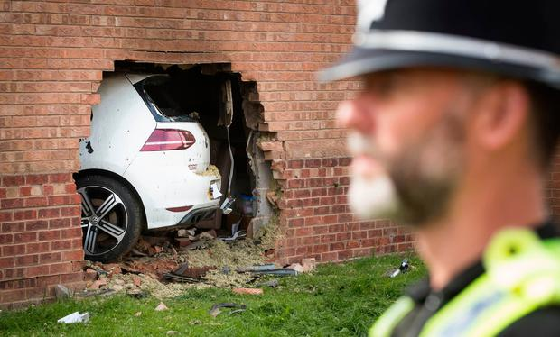 The scene in Morehall Close, Clifton, York, after a Volkswagen Golf R Credit: Danny Lawson/PA Wire