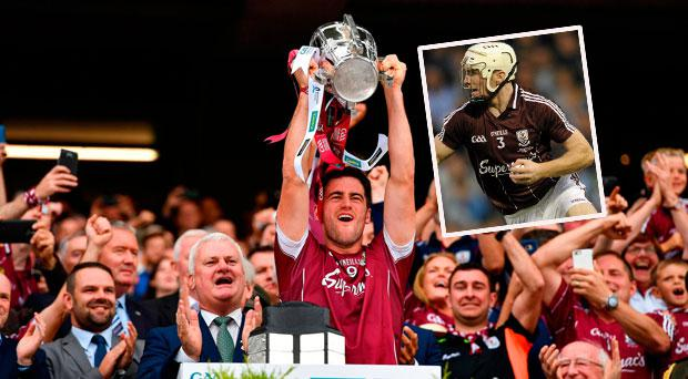 David Burke lists the Liam Maccarthy Cup for Galway and (inset) Niall Donoghue