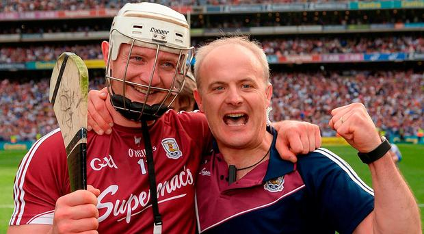 Galway manager Micheál Donoghue, right, with Joe Canning of Galway after the GAA Hurling All-Ireland Senior Championship Final match between Galway and Waterford at Croke Park in Dublin. Photo by Seb Daly/Sportsfile