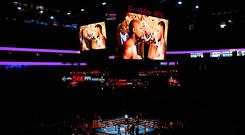 A general view of T-Mobile Arena prior to the the super welterweight boxing match between Floyd Mayweather Jr and Conor McGregor in Las Vegas, USA. Photo by Stephen McCarthy/Sportsfile