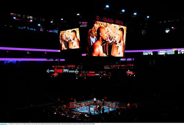 2e75823add28 A general view of T-Mobile Arena prior to the the super welterweight boxing  match