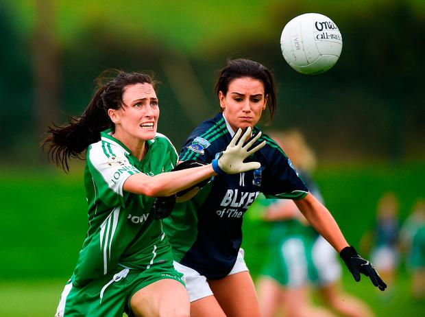 Helen Hughes of London in action against Aisling Woods of Fermanagh. Photo by Matt Browne/Sportsfile