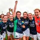 Fermanagh winning point scorer Aisling Maguire centre celebrates with her team-mates. Photo by Matt Browne/Sportsfile