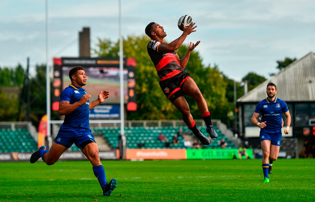 Ashton Hewitt of Dragons in action against Adam Byrne of Leinster. Photo by Ramsey Cardy/Sportsfile