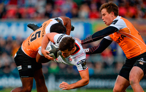 Louis Ludik of Ulster is tackled by the Cheetahs' Sergeal Petersen at Kingspan Stadium. Photo by Oliver McVeigh/Sportsfile