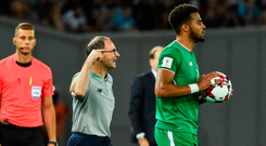 Martin O'Neill issues instructions to his players during Ireland's draw against Georgia in Tbilisi. Photo by David Maher/Sportsfile
