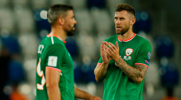 Daryl Murphy (right) is in contention to start tomorrow night having come on as a substitute against Georgia. Photo: Reuters/David Mdzinarishvili