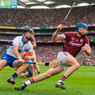 Conor Cooney gets away Darragh Fives to set up a Galway. Photo: Sportsfile