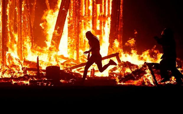A man managed to run into the burning effigy at the festival