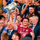 David Burke of Galway lifts the Liam MacCarthy Cup after the GAA Hurling All-Ireland Senior Championship Final match between Galway and Waterford at Croke Park in Dublin. Photo by Sam Barnes/Sportsfile